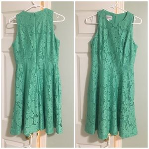 Lace Green Fit and Flare Dress